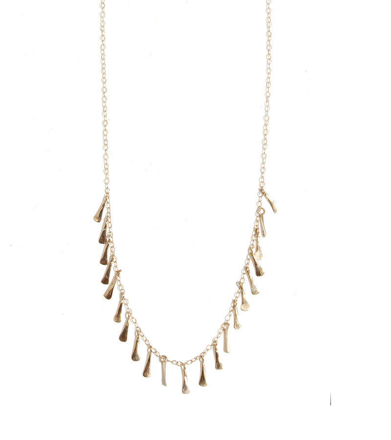 Melissa Joy Manning Twenty One Seed Necklace in Yellow Gold