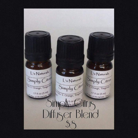 Simply Citrus Aromatherapy Diffuser Blend (5ml,10ml) - L's Naturals-  Bath, Body & Home Products