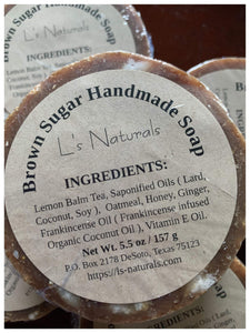 BROWN SUGAR HANDMADE BAR SOAP - L's Naturals-  Bath, Body & Home Products