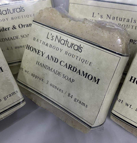 HONEY AND CARDAMOM HANDMADE BAR SOAP - L's Naturals-  Bath, Body & Home Products