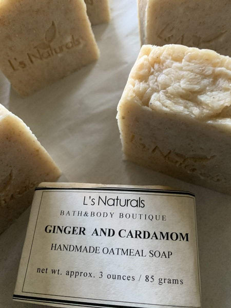 Ginger and Cardamom Oatmeal Handmade Soap - L's Naturals-  Bath, Body & Home Products