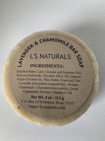 Lavender and Chamomile Handmade Bar Soap - L's Naturals | Bath & Body Boutique