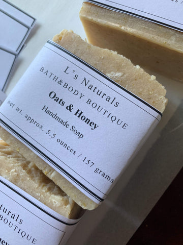 OATS AND HONEY HANDMADE BAR SOAP - L's Naturals-  Bath, Body & Home Products