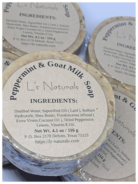 PEPPERMINT GOAT MILK HANDMADE BAR SOAP - L's Naturals-  Bath, Body & Home Products