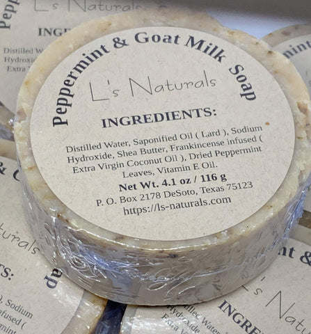 PEPPERMINT AND GOAT MILK HANDMADE BAR SOAP - L's Naturals-  Bath, Body & Home Products