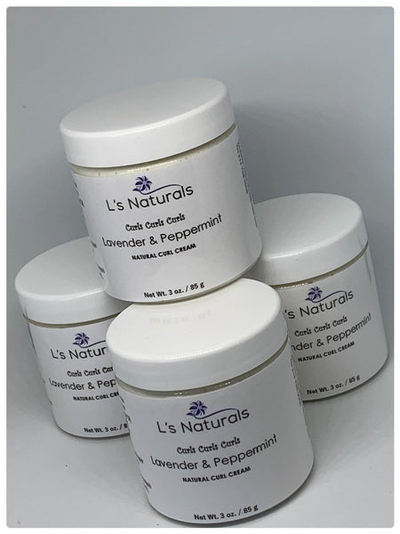 Lavender and Peppermint Natural Hair Curl Cream - L's Naturals | Bath & Body Boutique