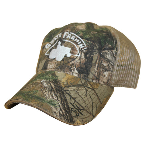 Gone Farmin' Hat Camouflage Mesh Trucker Hat
