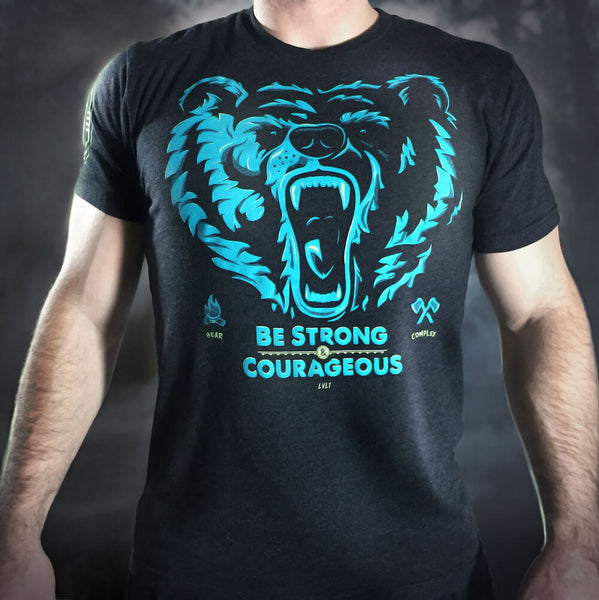 Bear Complex Men's T-Shirt Blue & Green on Black - LVL1 LIFE  - 1