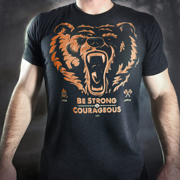 Bear Complex Men's T-Shirt Orange & Yellow on Black - LVL1 LIFE  - 1