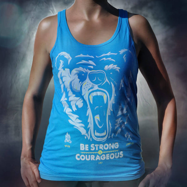 Bear Complex Unisex Tank Gray & Neon Yellow on Neon Blue - LVL1 LIFE  - 1