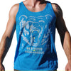 Bear Complex Unisex Tank Gray & Neon Yellow on Neon Blue - LVL1 LIFE  - 2