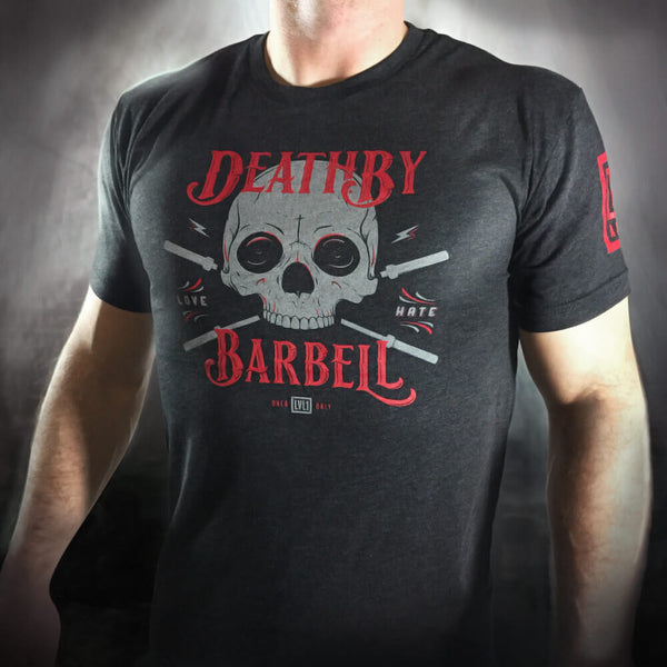Death By Barbell Men's T-Shirt Black - LVL1 LIFE  - 1