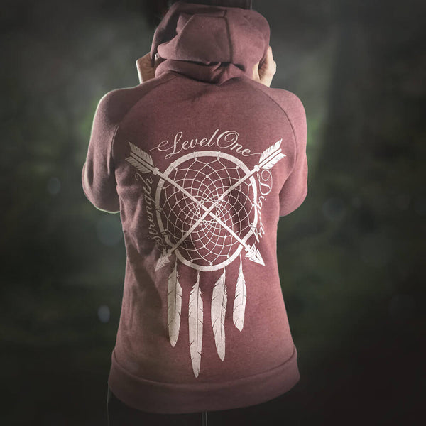 Dreamcatcher Strength & Dignity Burgundy Hoodie - LVL1 LIFE  - 1