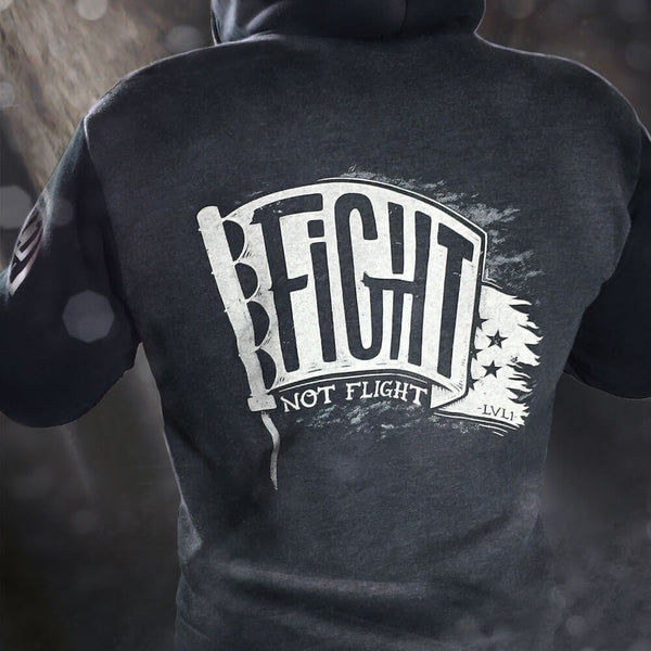 Fight Not Flight Zip-Up Hoodie Charcoal & Black - LVL1 LIFE  - 1