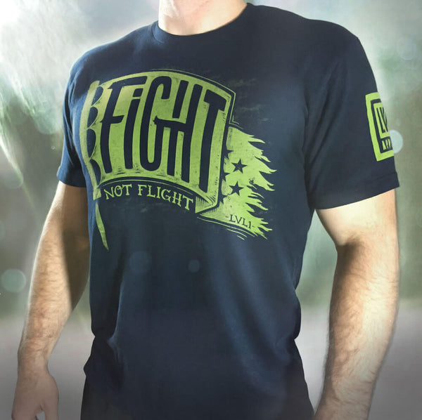 Fight Not Flight Men's T-Shirt Navy - LVL1 LIFE  - 1