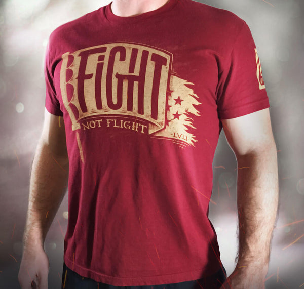 Fight Not Flight Men's T-Shirt Red - LVL1 LIFE  - 1
