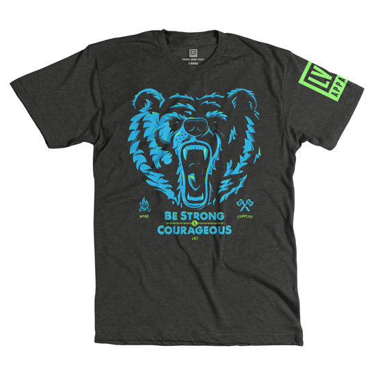 Bear Complex Men's T-Shirt Blue & Green on Black - LVL1 LIFE  - 2