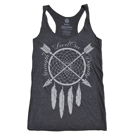 Dreamcatcher Strength & Dignity Women's Tank-Racerback Black - LVL1 LIFE  - 3
