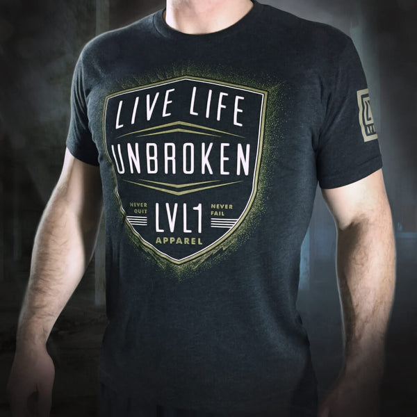 Live Life Unbroken Men's T-Shirt Gold and White on Black - LVL1 LIFE  - 2