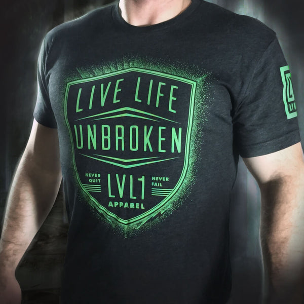Live Life Unbroken Men's T-Shirt Neon Green on Black - LVL1 LIFE  - 1