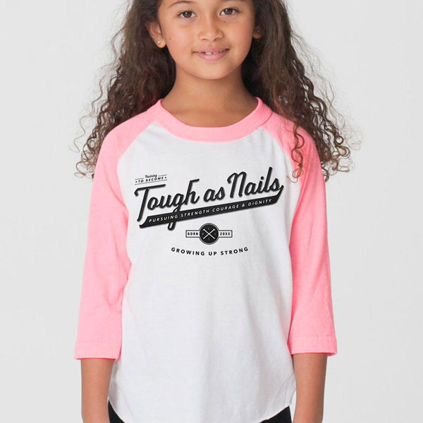 Tough as Nails Pink & White Kid's 3/4 Sleeve Shirt - LVL1 LIFE  - 1