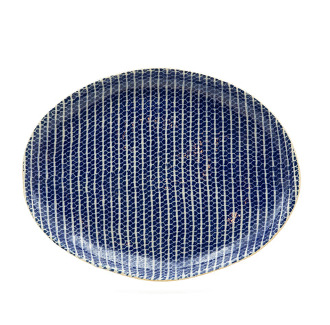 Cobalt Small Oval Platter in Strata