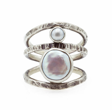 J & I Textural Silver and Pearl Ring