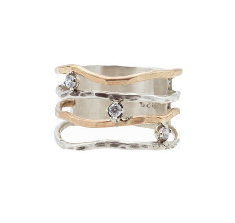 J & I Triple Floating Stone Ring