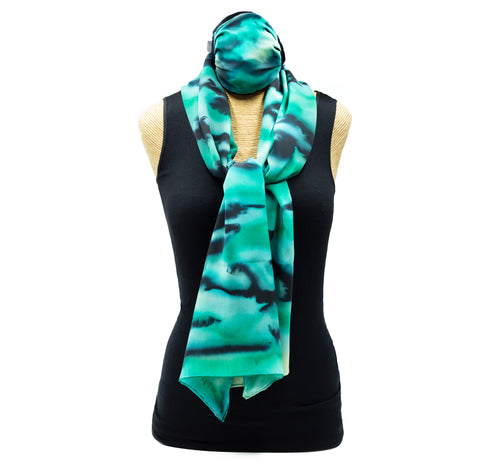 Handpainted Silk Scarf and Mask Set in Jade & Black
