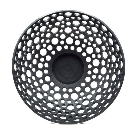 Lacy Low Bowl in Black Matte, Large