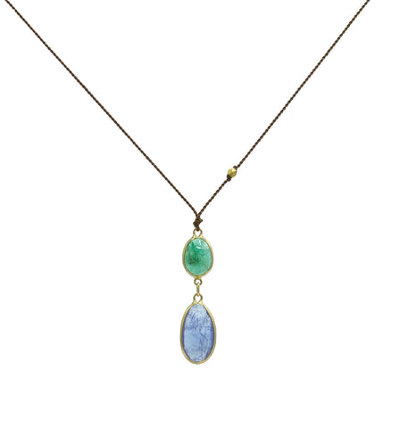 Margaret Solow Blue Sapphire & Emerald Necklace