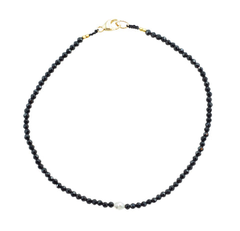 Margaret Solow Black Onyx & Grey Diamond Bracelet