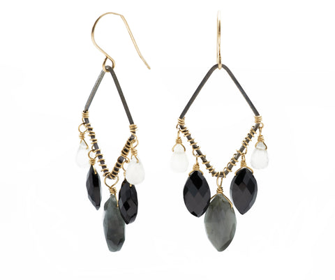 Calliope Oxidized Earrings in Black & Greys