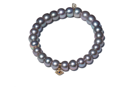 Sydney Evan Evil Eye Pearl Beaded Bracelet