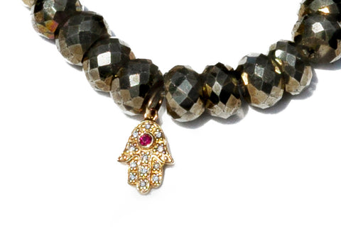 Sydney Evan Ruby Hamsa Beaded Bracelet