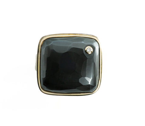 Jamie Joseph Hematite with Diamond Birthmark Ring