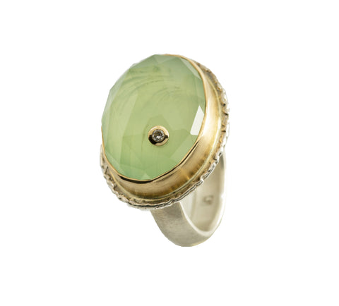 Jamie Joseph Prehnite with Diamond Birthmark Ring