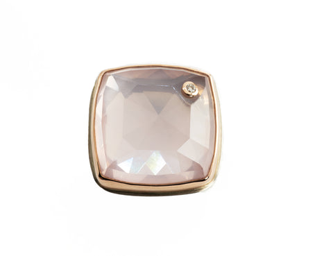 Jamie Joseph Rose Quartz with Diamond Birthmark Ring