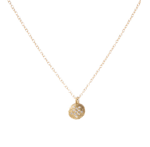Victoria Cunningham Pave Round Disc Necklace