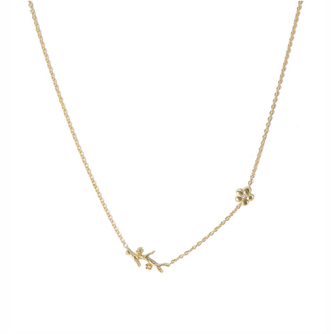 Victoria Cunningham 14K Blossom & Branch Necklace