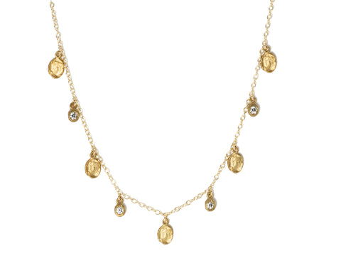 Victoria Cunningham Disc & Diamond Dangle Drop Necklace
