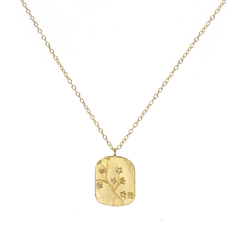 Victoria Cunningham 14K Cherry Blossom Dog Tag Necklace