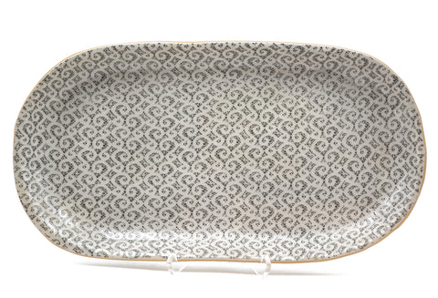 Large Oval Platter in Marrakesh in Charcoal