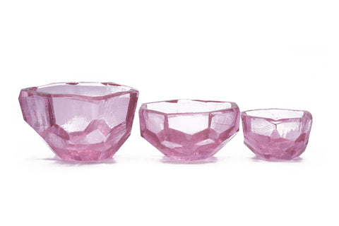 Crystal Rose' Gem Cut Bowl Large