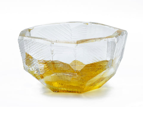 Crystal-Cut Large Bowl - Amber