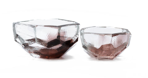 Gem Cut Glass Bowl  Large Violet