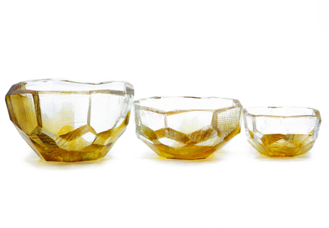 Crystal-Cut Small Bowl - Amber