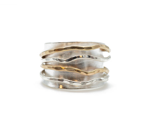 J & I Sculptural Wide Wrap Ring