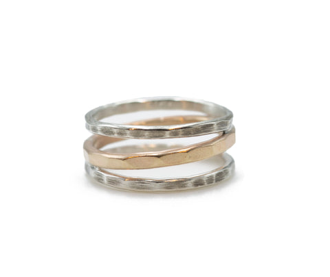 J&I Mixed Metal Light Wrap Ring