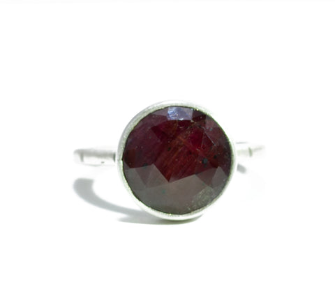 Jodi Rae Faceted Round Ruby Ring